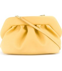 themoirè pleated faux-leather clutch bag - yellow