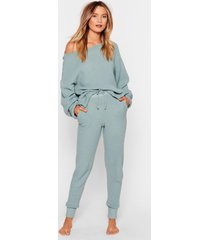 womens knit happens sweater and joggers lounge set - sage