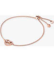 mk braccialetto con cursore in argento sterling con placcatura in metallo prezioso e logo a forma di cuore - oro rosa (oro rosa) - michael kors