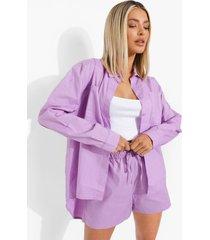 oversized katoenen poplin blouse en shorts, lilac
