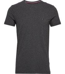 stretch slim fit tee t-shirts short-sleeved svart tommy hilfiger