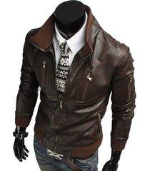 handmade mens biker leather jacket, men slim fit brown biker leather jacket