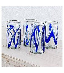 blown glass tumblers, 'capricious cobalt' (set of 4) (guatemala)