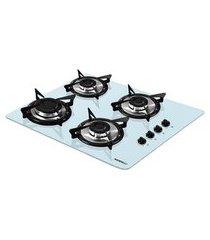 fogão de mesa cooktop branco 4 bocas flange inox nv4 nardelli