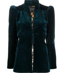 etro v-neck single breasted blazer - blue