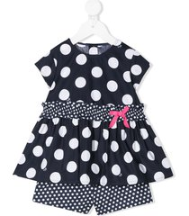 il gufo polka-dot dress and shorts set - blue