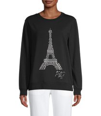karl lagerfeld paris women's studded eiffel tower graphic sweatshirt - black silver - size xs