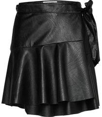 ruffled leather free leather wrap skirt kort kjol svart designers, remix