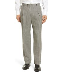 berle pleated houndstooth wool trousers, size 38 x unhemmed in charcoal at nordstrom