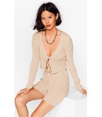 womens let knit be tie cardigan and shorts set - sand