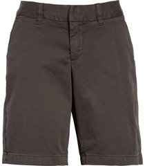 women's caslon stretch cotton twill bermuda shorts, size 14 - grey