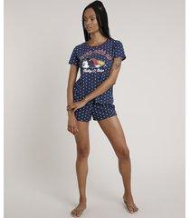 pijama feminino mickey estampado de poá manga curta azul marinho