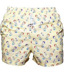 pantaloneta de baño beige regata beachwear cabo de la vela