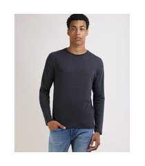camiseta masculina básica comfort fit manga longa gola careca cinza mescla escuro