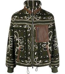 amiri bandana-print fleece jacket - green