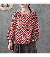 zanzea mujer de manga larga de cuello redondo tela escocesa comprobar tapas de la camisa de gran tamaño retro de la blusa -chile rojo