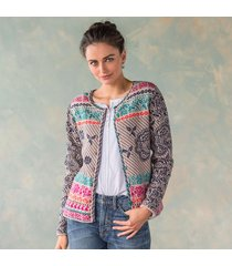floral pattern cardigan sweater