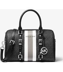 mk borsa a mano bedford travel media con righe e logo - nero (nero) - michael kors