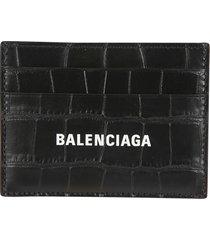 balenciaga croc embossed cash card holder