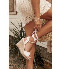 showpo showpo x billini- tenerife wedges in white linen - 5 sale shoes