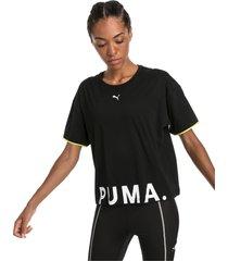 chase t-shirt van katoen voor dames, zwart, maat xxl | puma