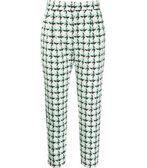msgm tweed check cropped trousers - white