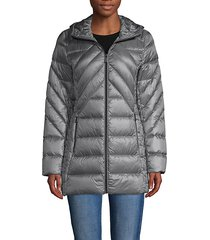 down-filled packable hooded jacket