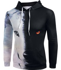 contrast animal print kangaroo pocket hoodie