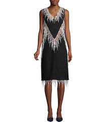 fringe wool blend shift dress