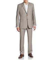 slim-fit tonal plaid wool suit