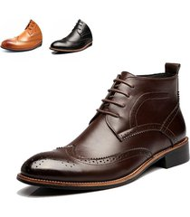 men martin boots leather carve vintage pointed toe men's formal dress brogue ank