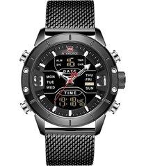 reloj hombre cuarzo deportivo digital led naviforce 9153 negro