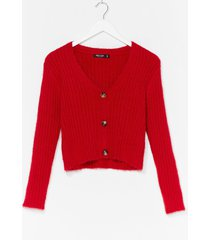 womens button-down for whatever fluffy knit cardigan - red