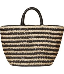 double handle straw tote