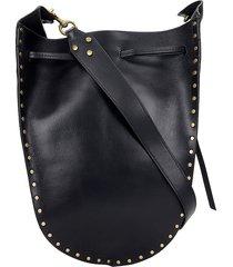 isabel marant taj shoulder bag in black leather