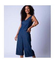 macacão pantacourt jeans alça larga feminina
