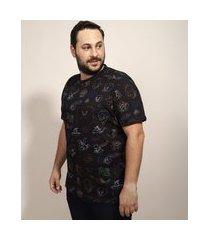 camiseta masculina plus size looney tunes estampada manga curta gola careca preta
