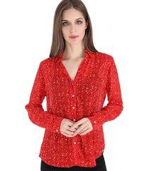 blusa print otoñal rojo nicopoly