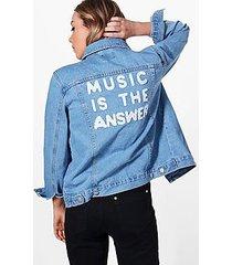 jodie oversize slogan back denim jacket
