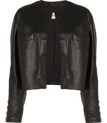 alexandre vauthier crystal button leather jacket - black