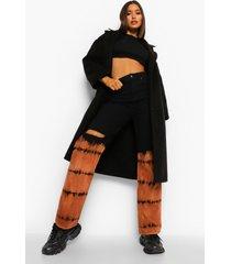 nepwollen jas met naaddetails, black