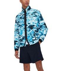 ax armani exchange men's water-print seersucker jacket with zip-out hood