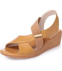 sandali casual con zeppe in puro colore