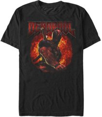marvel men's deadpool muscles and flames, short sleeve t-shirt