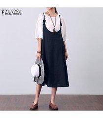 zanzea fiesta de verano para mujer vestido de chaleco con tiras y una línea larga vestido de verano kaftan -azul