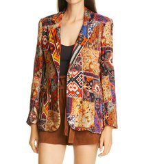 women's le superbe jimi hand beaded patchwork print velveteen jacket, size 0 - red