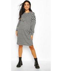 maternity balloon sleeve stripe sweat dress, light grey