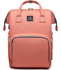 bolsa/mochila maternidade land com usb e impermeável rosa