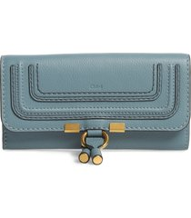 women's chloe marcie leather flap wallet - blue