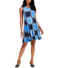 style & co bandana-printed sleeveless knit dress, created for macy's